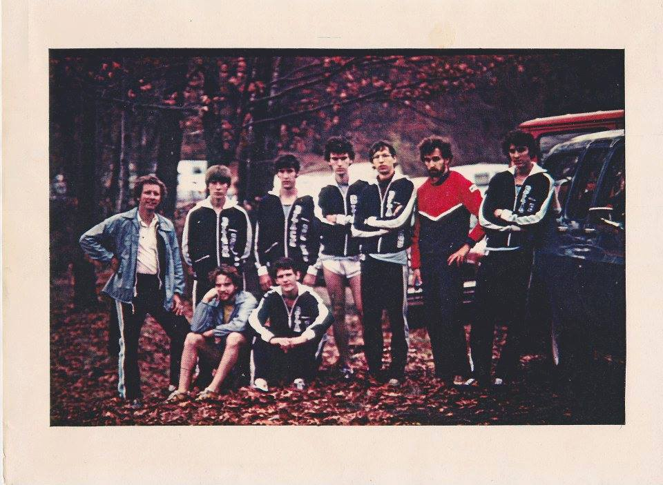 The Black Bear 1979 cross-country team. Front (L to R): Bill Pike, Pete Brigham Back (L to R): Coach Jim Ballinger, Jerry Clapper, Brad Brown, Myron Whipkey, Jon Howland, Larry Allen, Bill Solomine.  (courtesy of the U. Maine fb page)