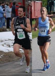 file photos of Robert Gomez & Carry Buterbaugh. They were overall winners of their race. Photos courtesy of Maine Running Photos & Don Penta