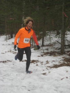 Robin Clarke of Ellsworth finishing up 9th overall at the 2013 State of Maine Snowshoe Championships. She was the second woman overall