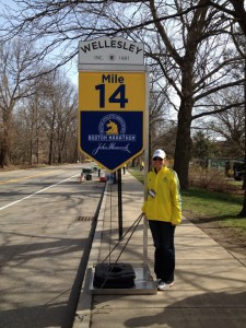 Photo of Maine Volunteers @ Mile 14 of the 2013 Boston Marathon courtesy of Kristin Cook-Center