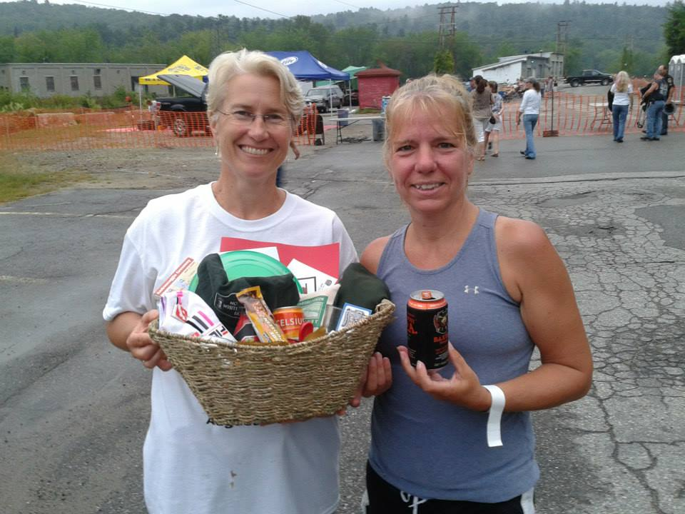 Kathy Young of Androscoggin Land Trust (left) with 10K winner Vicki McLeod (right). Time - 47:06.22 courtesy of Fitness Stylz on fb