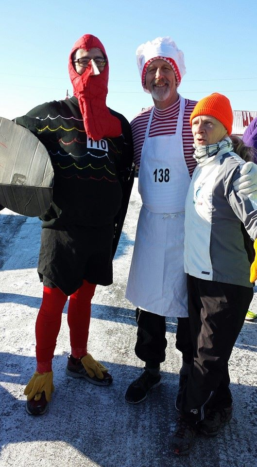 Pre -Turkey Trot Race Paul Lamereau (the turkey) husband of the person taking the photos, Paul Libby (the chef) and Connie McClullen (photo courtesy of Rose Gabel Libby)