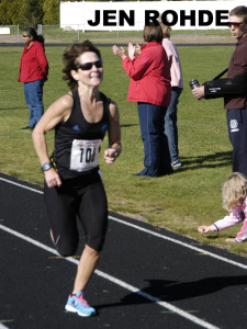 file photo of JEN ROHDE, Maine's 1st finisher courtesy of Don Penta