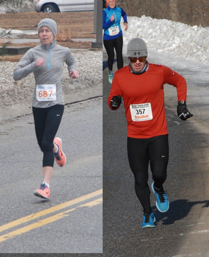 File photos of the winners: LAURIE NICHOLAS & BRENDHAN MCDEVITT both of Gorham, Maine courtesy of Maine Running Photos