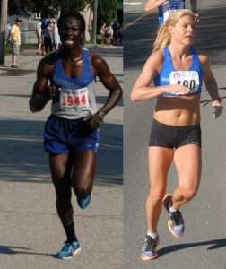 file photos of Marube Moninda & Erica Jesseman courtesy of Penta & Young of Maine Running Photos