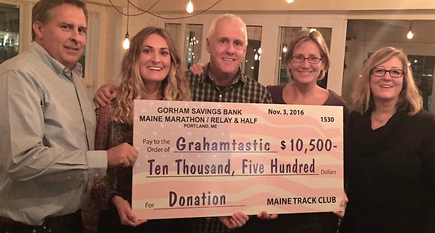 "grahamtastic.org states ""Huge thank you to Maine Marathon for your wonderful donation of $10,500 for us to purchase 3 more robots!"""